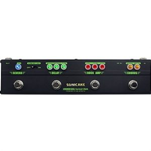Sonicake Multi Guitar Effect Strip Pedal Sonicbar Rockstage Combining 4Classic Arena Rock Guitar Effects in 1 Unit of Chorus Distortion Delay and Reverb Effect